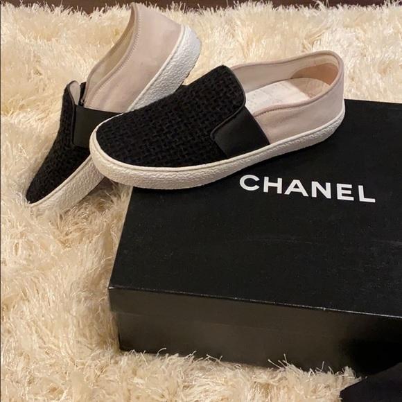 CHANEL Shoes | Chanel Tweed Slipon